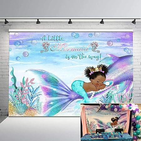 Teal Mermaid Baby Shower Backdrop,Brunette Mermaid Baby Shower,Under The Sea Baby Shower Backdrop,Mermaid Baby Shower,Purple Teal,PTM4