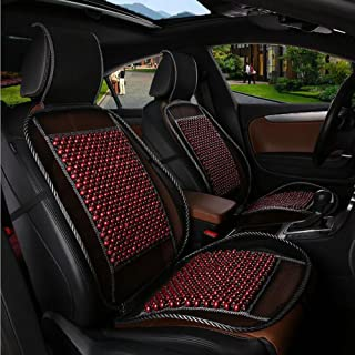 HomDSim Auto Car Seat Cover Cushion, Wooden Bead Cool and Refreshing Suitable for Summer (Red)