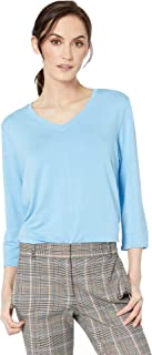 Baby French Terry V-Neck 3/4 Sleeve Top Blue Moon LG