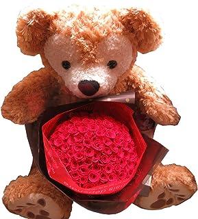 プロポーズ ダッフィー ぬいぐるみ70cm プリザーブドフラワー バラ 100本 花束