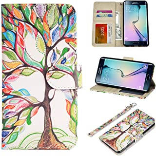 UrSpeedtekLive Galaxy S6 Edge Plus Wallet Case, Premium PU Leather Wristlet Flip Case Cover with Card Slots & Stand Compatible Samsung Galaxy S6 Edge Plus, Love Tree