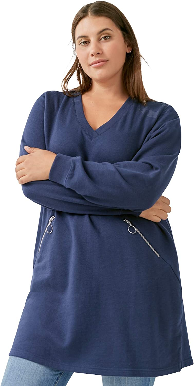 ellos Women's Plus Size Zip-Pocket Sweatshirt
