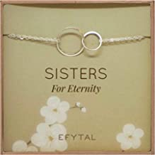Sterling Silver Sisters Bracelet, Infinity Joined Two Interlocking Double Circles on Card Gift For Sister