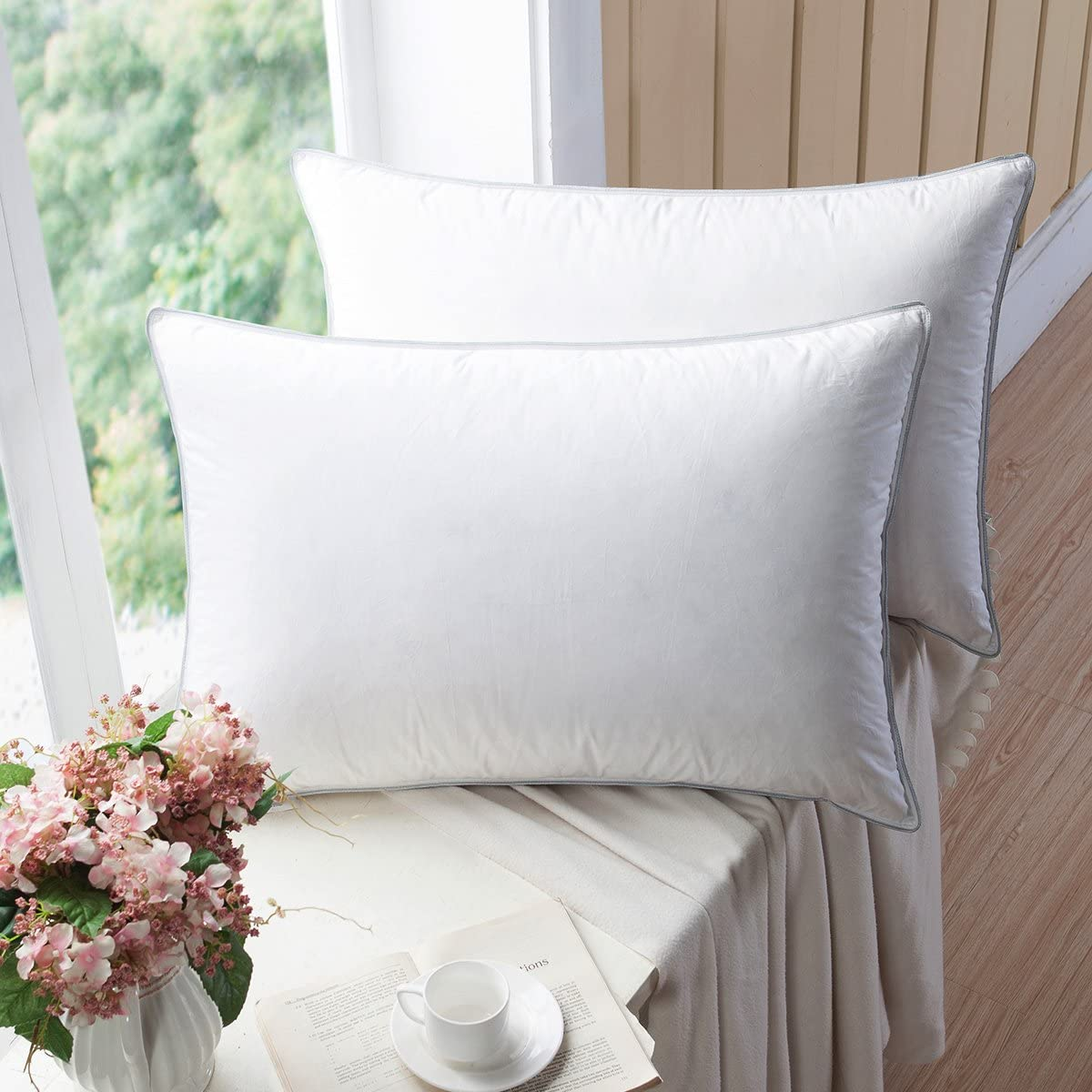 WENERSI Premium Goose Down Pillows Feather with Ranking integrated 1st place Outlet SALE Blended 2-Pack