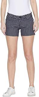 Jump USA Women Checked Black & White Casual Shorts