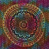 MOMOMUS Tapiz de Pared de Mandala - Hecho a Mano, de Algodón y Tintes Vegetales - Multicolor, de Inspiración Simétrica, Pareo/Toalla de Playa Grande - Elegante y Bohemio - 210x230cm Aprox.