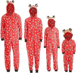 Kehen Matching Family Christmas Pajamas Xmas Deer Hoodie Jumpsuit Onesies One-Piece Jumper Children PJs Gift Set