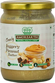 Two Brothers Organic Farms Amorearth Peanut Butter, Crunchy Jaggery, Stoneground 500 GMS