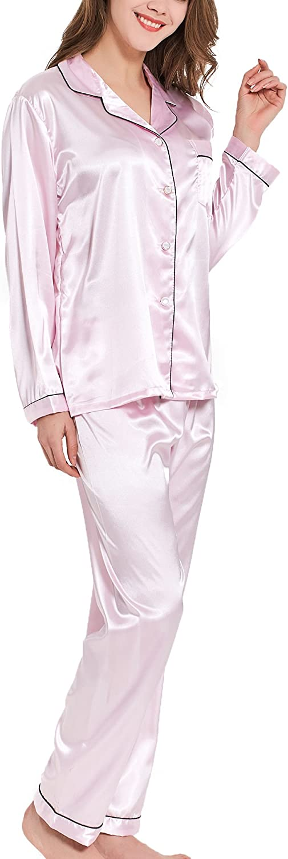 VlSl Womens Silk Satin Pajamas Set Sleepwear Loungewear TwoPiece Long Sleeve Pajama Set