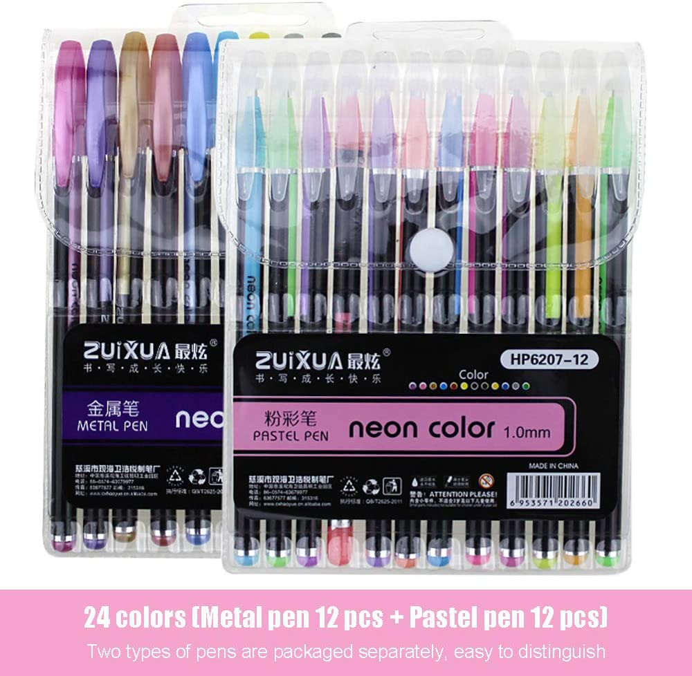 24 Colors 12 Max 82% OFF Metal Pen And Pens Challenge the lowest price of Japan ☆ Glitter Set Pastel Col