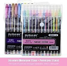24 couleurs, 12 stylos en métal et 12 stylos pastel, lot de stylos à paillettes, livres de coloriage, dessin, gribouillag...