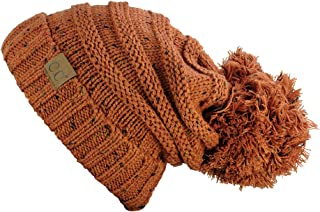 Hatsandscarf CC Exclusives Unisex Oversized Slouchy Beanie with Pom (Confetti Rust)