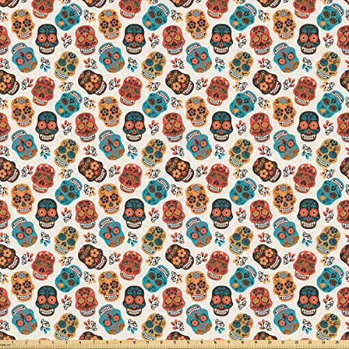 Lunarable Geometric Fabric by The Yard, Lines and Squares Classical Fashion Inspired Image, Stretch Knit Fabric for Clothing Sewing and Arts Crafts, 1 Yard, Pale Brown Cinnamon