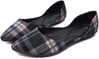 Stunner Womens Pointy Toe Flats Ballet Shoes Plaid Shoes Dress Flat Shoes