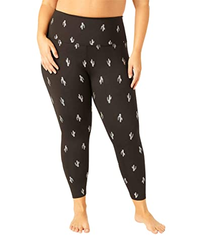 Beyond Yoga Plus Size Cactus High-Waisted Midi Leggings (Black Silver Dizzy Cactus) Women