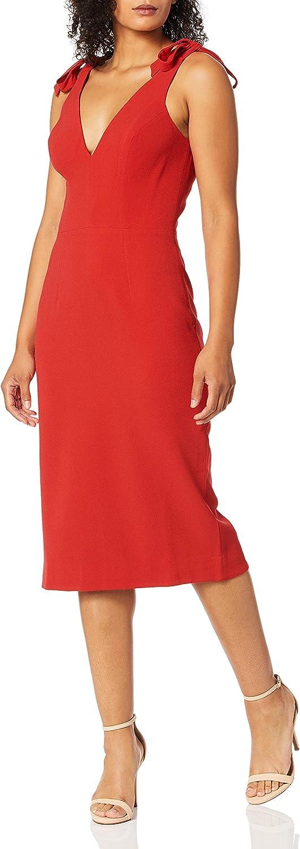 Dress the Population Women's Lita Sleeveless Plunging Midi Sheath Dress w Bows, Rouge, XX-Small