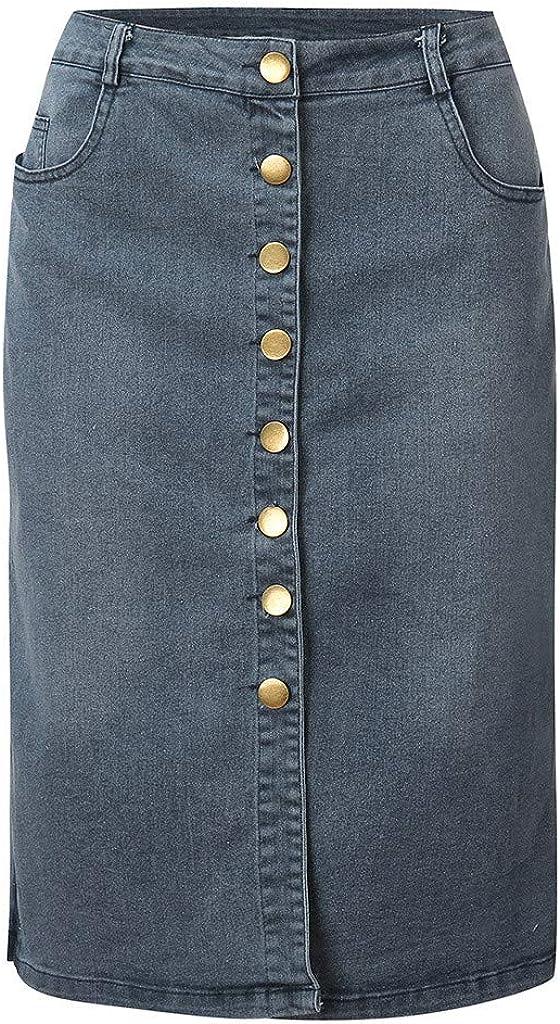 NREALY Falda Womens Denim Skirt Summer Button Design Split Front Open Skirts