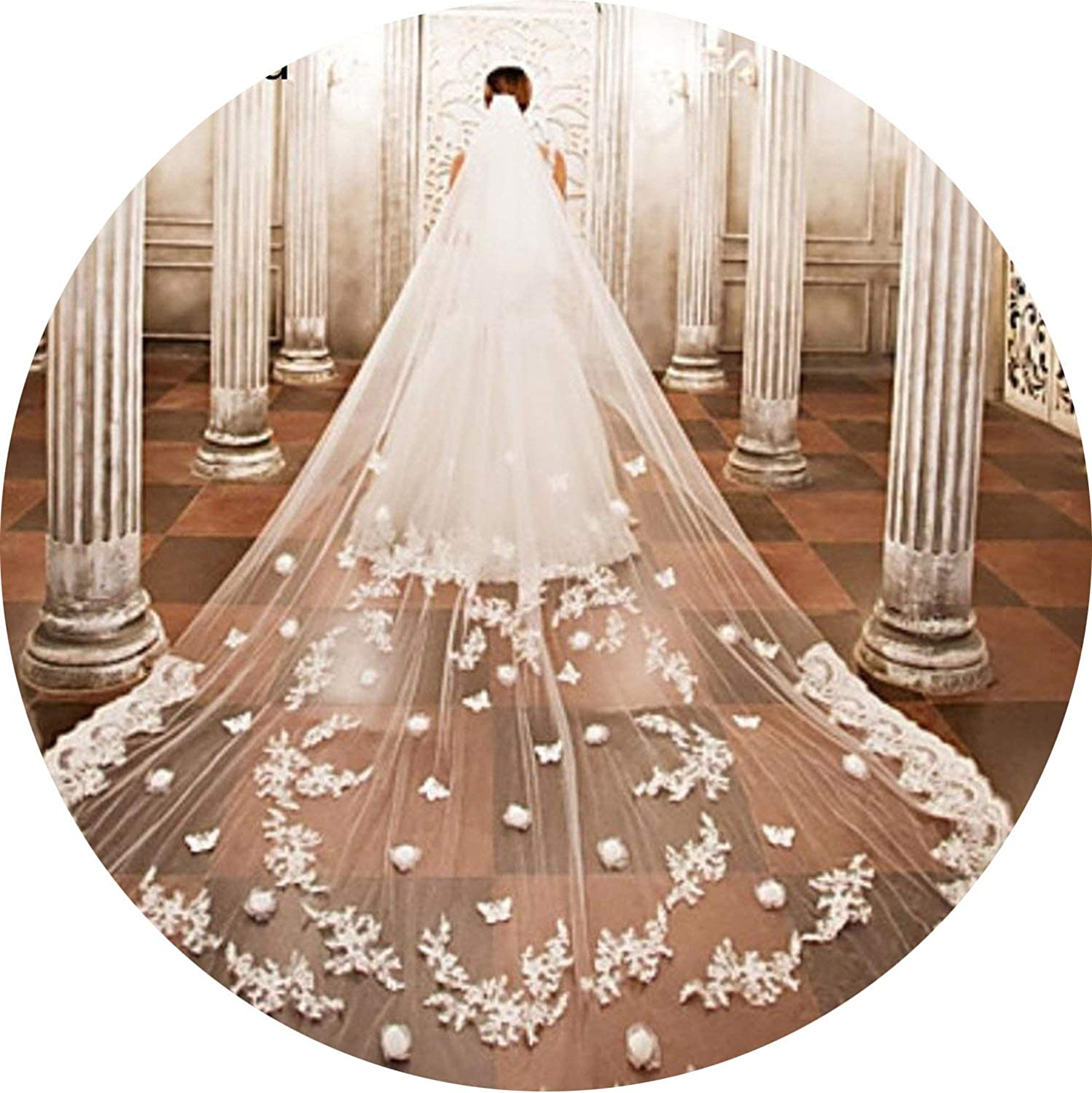 White Ivory One Tier 3M Long Wedding Veil Cathedral Length Lace Applique Netting Bridal Veil With Comb,White,500Cm