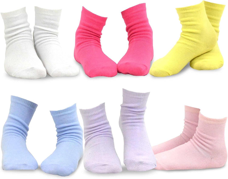 TeeHee Little Girls Cotton Basic Crew Socks 6 Pair Pack (9-10 Years, Solid)