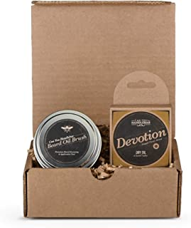 Beard Brush and Balm Set   Beard Balm Patchouli Scent (Devotion)   Includes a Can You Handlebar Beard Oil Brush (Beard Balm Applicator) & 2 Oz. Beard Balm   Made in the USA
