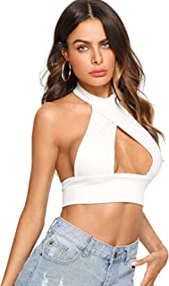 Women's Sexy Cut Out Halter Knit Ribbed Backless Crop Tank Top