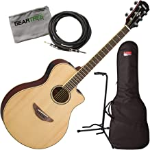 Yamaha APX600 NA Natural Thin Body Acoustic-Electric Guitar w/Bag, Stand, Cloth,