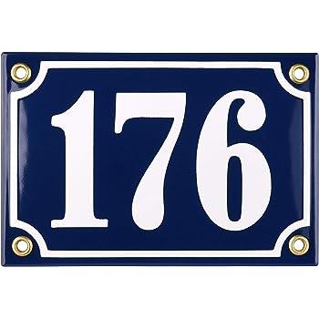Sosenco Hausnummerschild Hausnummer Anthrazit Keramik Emaille 12x17 cm Wetterfest Personalisiert Emailschild