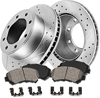 2010 For Dodge Ram 3500 Front Cross Drilled Slotted and Anti Rust Coated Disc Brake Rotors and Ceramic Brake Pads