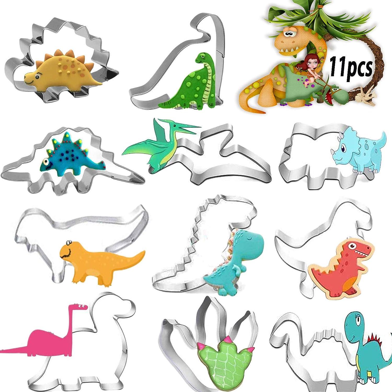 JIASHA Molde para Galletas, Molde de Dinosaurio, moldes para Galletas, Galletas de Acero Inoxidable para Decoraciones de Fondant, Decoraciones de postres de pastelería (11 Piezas)