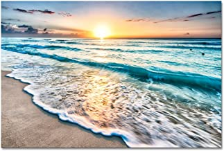 Wieco Art Sea Waves Large Canvas Prints Wall Art Ocean Beach Pictures Paintings Ready to Hang for Living Room Bedroom Home...