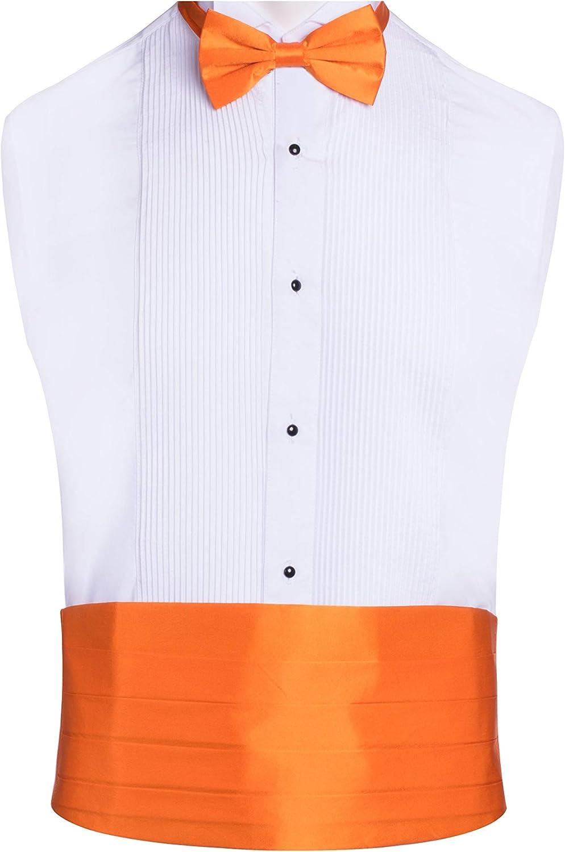 Classy Orange SILK Cummerbund and Bow Tie Set with Box