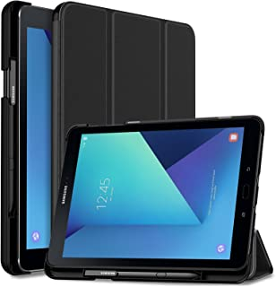 INFILAND Samsung Galaxy Tab S3 9.7 Case, Slim Tri-Fold Shell Cover with S Pen Protective Holder for Galaxy Tab S3 9.7-Inch Tablet SM-T820/ T825/ T827 2017 Release Auto Wake/Sleep, Black