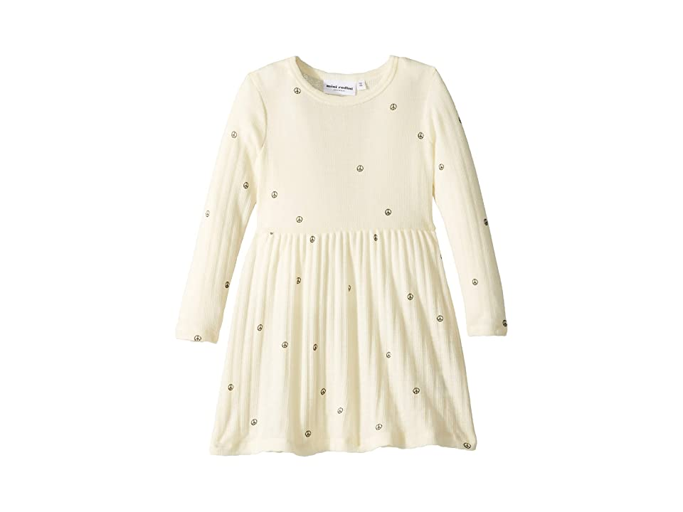 mini rodini Peace Pointelle Wool Dress (Infant/Toddler/Little Kids/Big Kids) (Off-White) Girl