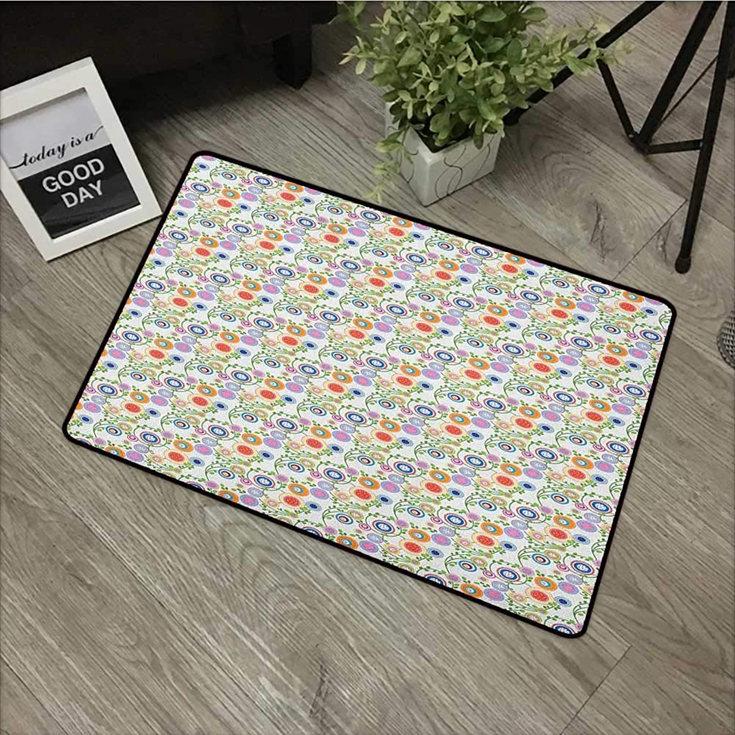 Pool Anti-Slip Door mat W35 x L59 INCH Floral,Spring Theme with Circular Flower Petals Blossom Flora Curved Branches Growth Print, Multicolor Non-Slip, with Non-Slip Backing,Non-Slip Door Mat Carpet