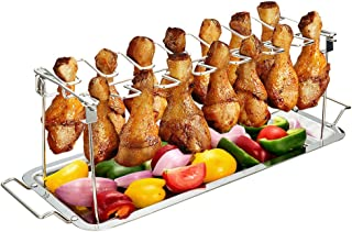 Chicken Leg Wing Rack 14 Slots Stainless Steel Metal Roaster Stand with Drip Tray for Smoker Grill or Oven, Dishwasher Safe, Non-stick, Great for BBQ, Picnic