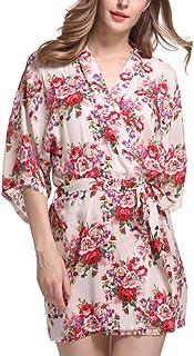 GGTFA Kimono Vintage De La Impresión Floral Albornoz Ropa De Dormir Vestido De Fiesta De La Boda Batas De Fiesta De La Bod...
