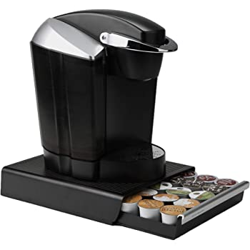 """Mind Reader Single Serve Coffee Pod Drawer and Holder, 30 Capacity Coffee Station and Pod Capsule Storage Organizer, Pull Out Tray for Condiments, Coffee Accessories Black, 13.07"""" L x 9.37"""" W x 2.5"""" H"""