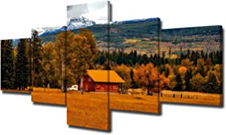 Country Wall Decor Cabin Wall Art for Living Room 5 Panel Art Landscape Painting Contemporary Artwork Nature Scene Pictures Home Decorations Bedroom Office Framed Stretched Ready to Hang(50''Wx24''H)