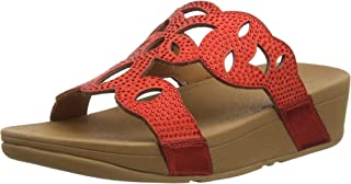 Fitflop Women's ELORA CRYSTAL SLIDES Open Toe Sandals, Red (Ss20 High Risk Red 002), 8 (42 EU)