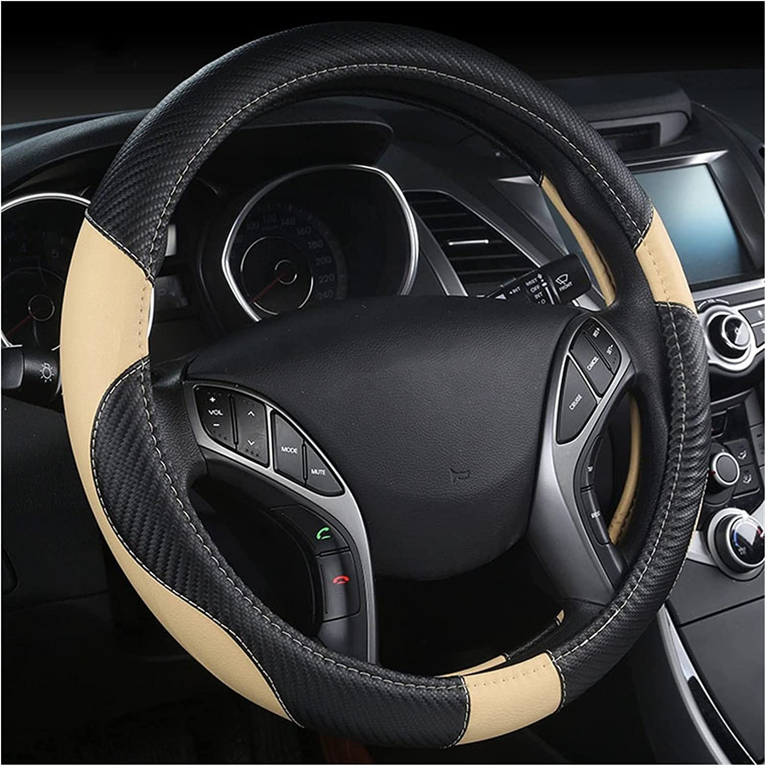 LCHY Bargain sale LWHYDZCPJXP Sales results No. 1 Car Steering Wheel Carbon 3 Fiber Cover Leather