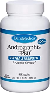 EuroMedica Andrographis EP80, 400 mg - 60 Capsules - Extra Strength Ayurvedic Formula - Liver Support, Immune Function, Jo...