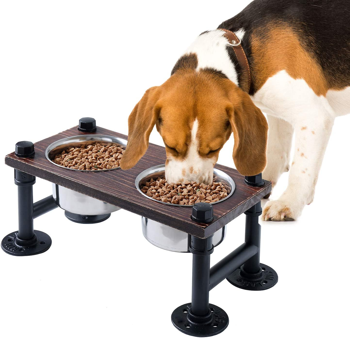 """WELLAND Elevated Dog Bowls with 2 Stainless Steel Bowls, Farmhouse Style Dog Raised Bowls for Small or Medium Dogs, Dog Feeder with Solid Wood Board & Black Metal Legs, 15.7""""W x 8""""D x 6.7""""H"""
