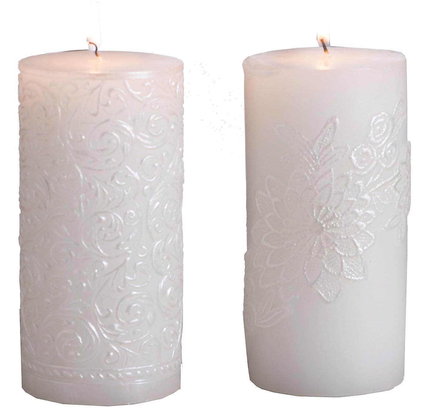 信頼性マスク黙(Gold Brushed) - Biedermann & Sons White Pearl Pillar Candle, 7.6cm by 23cm, Gold Brushed