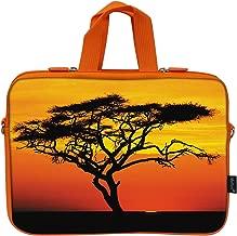 Meffort Inc 15 15.6 Inch Neoprene Laptop Bag Ultrabook Carrying Sleeve with Hidden Handle, Orange Color Matching - Africa Safari