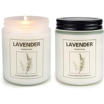 Lavender Candles for Home Scented, Aromatherapy Candle 2 pcs, Soy Wax Candle Set, Women Gift with Strongly Fragrance Jar Candles