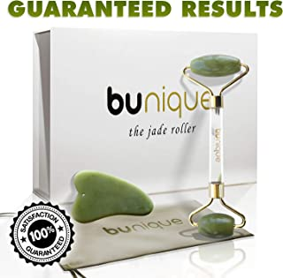 BUnique Premium Quality Jade Roller for Face, Neck, and Eyes - Original Natural Stone Rolling Facial Massager, Anti-Aging Facial Roller, Eye Roller, Cure Wrinkle and Puffiness - Gua Sha Tool Included