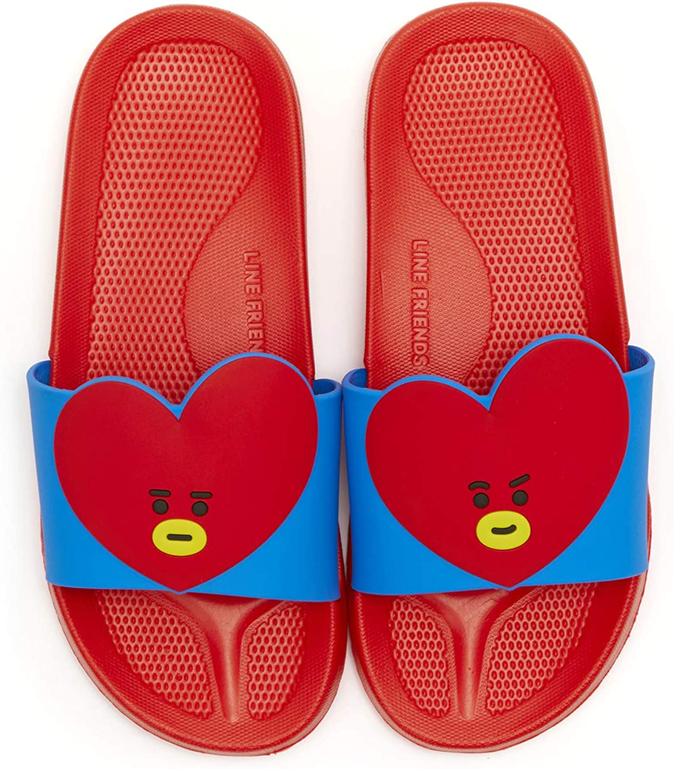 LINE FRIENDS BT21 Official Merchandise TATA Character PVC Indoor House Slippers, Size 6 Red