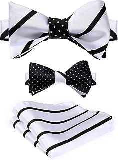 HISDERN Men's Fashion Double Sided Jacquard Self Bow Tie Set