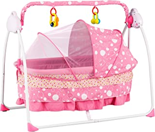 Uenjoy Automatic Baby Basket Electric Rocking Multifunction Baby Swing Cradle Bed,Remote or Panel Control, Music, Timing, Adjustable Speed, Pink