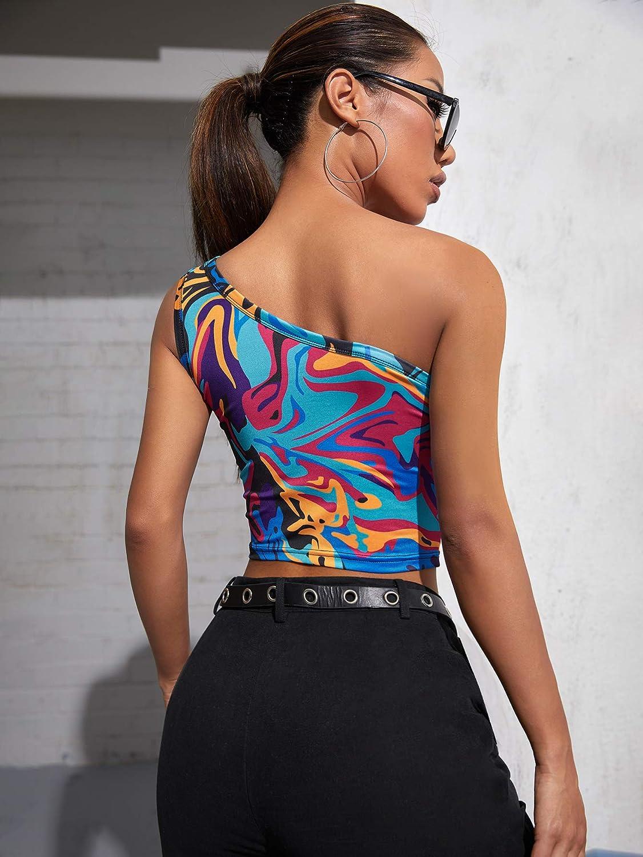 SweatyRocks Women's All Over Print Strapless Rib-Knit Crop Tube Top